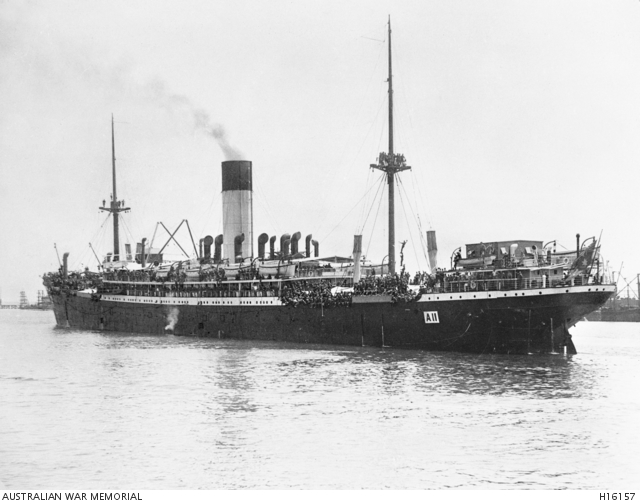 HMAT Ascanius (A11) at Fremantle, Western Australia in November 1914.  Australian War Memorial collection H16157