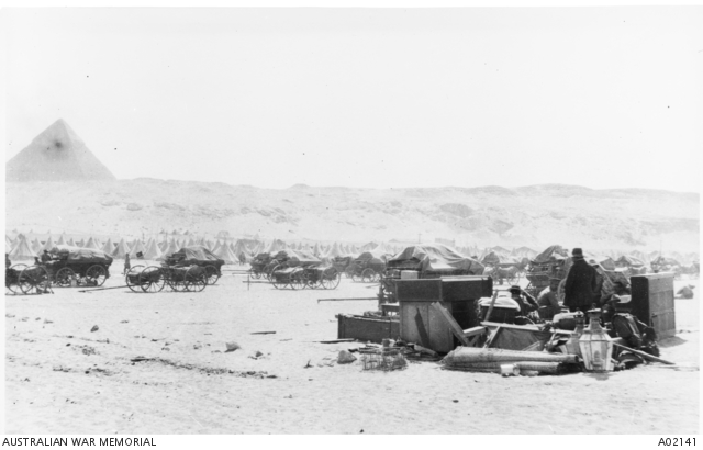 The 10th Battalion camp lines at Mena 'packed up ready to move' on the eve of departure for the Gallipoli Peninsula. The remains of the Officers mess is in the right foreground. Australian War Memorial collection A02141