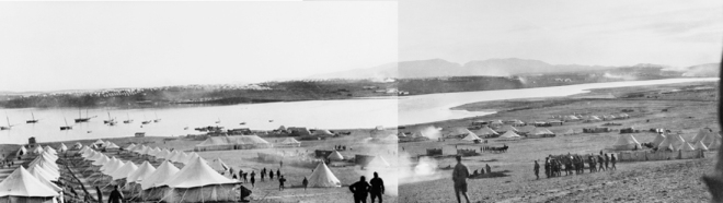 Composite view of Mudros Harbour on the Greek island of Lemnos near the Turkish coast and tent lines at Serpi Camp. The camp at the time was occupied by the 3rd Brigade, after the evacuation of Gallipoli. Australian War Memorial collection A02170C & A02170D