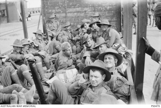 Troops entraining at Alexandria. Australian War Memorial collection PS0470