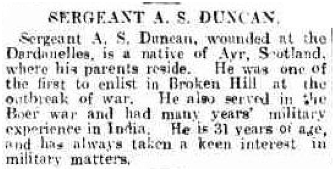 SERGEANT A. S. DUNCAN. Chronicle (Adelaide, SA) 29 May 1915, p. 45