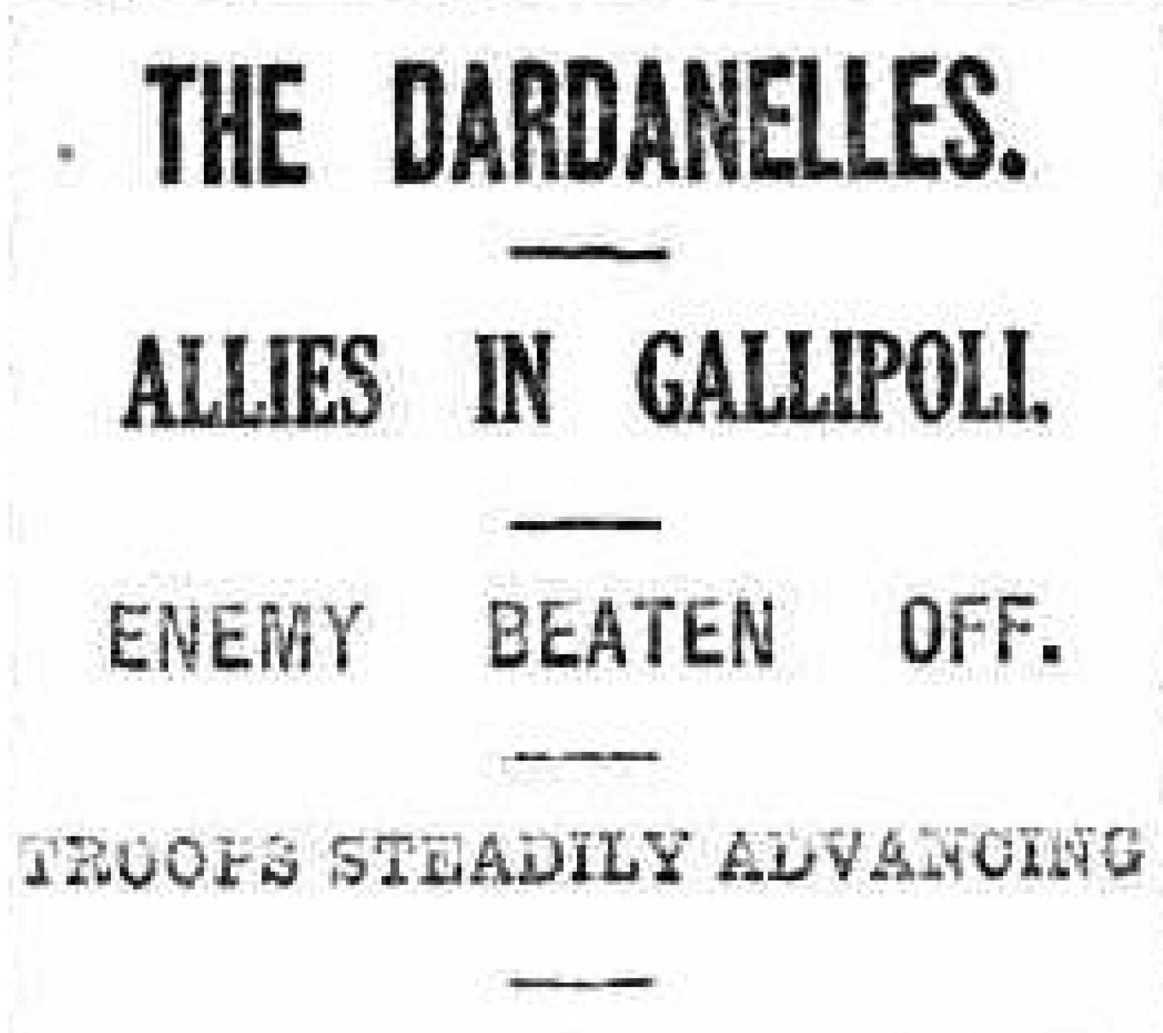 gallipoli newspaper articles 1915