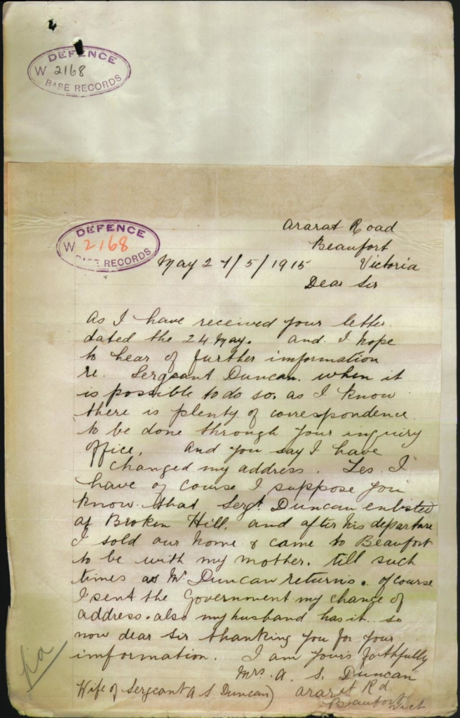 Jane Duncan's letter to the Department of Defence, 27 May 1915.  B2455/3525935 © Commonwealth of Australia (National Archives of Australia) 2013.