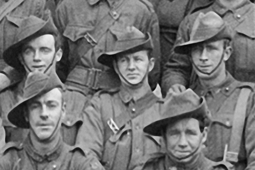 Enlargement. CSM A.S. Duncan, centre.  Seated in front of Andy on the left of frame is  Corporal Reginald Roy Inwood, who was awarded the Victoria Cross for his actions at Polygon Wood in September 1917. Andy and Reg were both 'original' 1914 Anzacs from Broken  Hill.