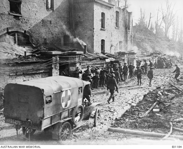 The entrance to the General Staff Office at the Headquarters of the 3rd Australian Division in the Ramparts, at Ypres, during the Broodseinde and Passchendaele operations. Australian War Memorial Collection E01184