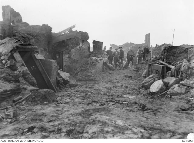 A dugout in the ruins of Wytschaete in January 1918.