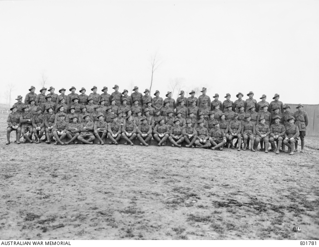 Group portrait of NCOs of the 10th Battalion, 23 February 1918. Australian War Memorial collection E01781