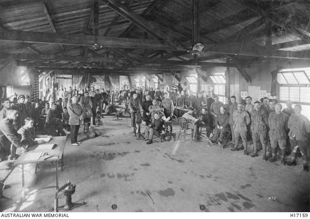 Weymouth, England. The remedial gymnasium at the Weymouth No 2 Medical Command Depot with patients undergoing treatment and exercise. Australian War Memorial collection H17159