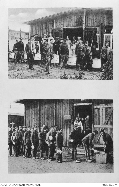 Prisoner's meals, Dülmen P.O.W. camp. The top photograph shows the large containers of food being carried from the kitchens and the lower photograph shows the serving of food to the POWs. Australian War Memorial Collection P03236.274