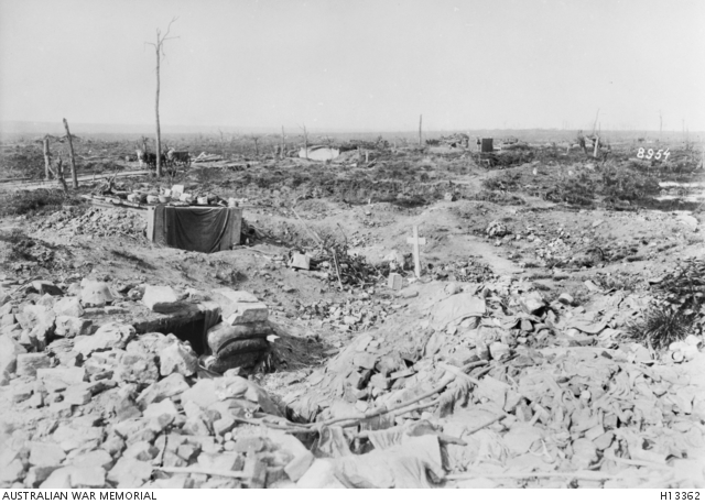 Hollebeke, Belgium. May 1918. The war damaged remains of the village in the Ypres salient. Australian War Memorial collection H13362