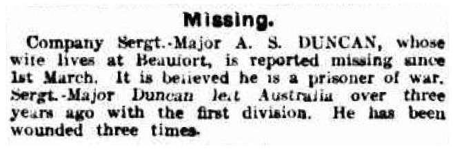 'Australians and the War.' (6 April 1918), The Age, p. 14. Newspaper article found in Trove reproduced courtesy of the National Library of Australia.