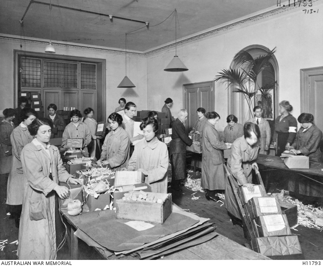 Australia. Australian Red Cross Society workers packing food parcels for Australians held in prisoner of war camps. Australian War Memorial collection H11793