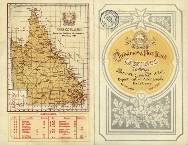 Map of Queensland Soldiers' Settlements October 1920. Held by John Oxley Library, State Library of Queensland.