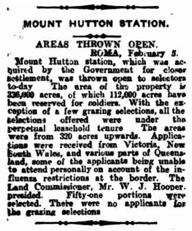 'MOUNT HUTTON STATION.', The Queenslander (Brisbane, Qld.), 15 February, p. 35 Newspaper article found in Trove and reproduced courtesy of the National Library of Australia.