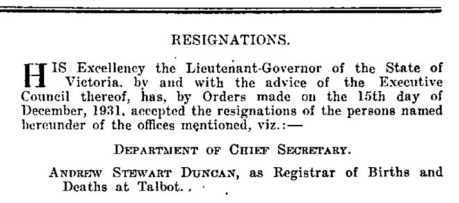 Victoria Government Gazette. No. 291. 23 December 1931. State Library of Victoria