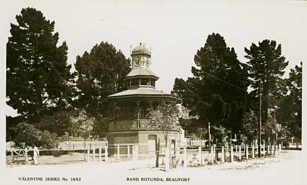 Band Rotunda, Beaufort, c. 1935. Rene Duncan would have played here as part of the Beaufort Municipal Band. State Library of Victoria Image No: pc004305