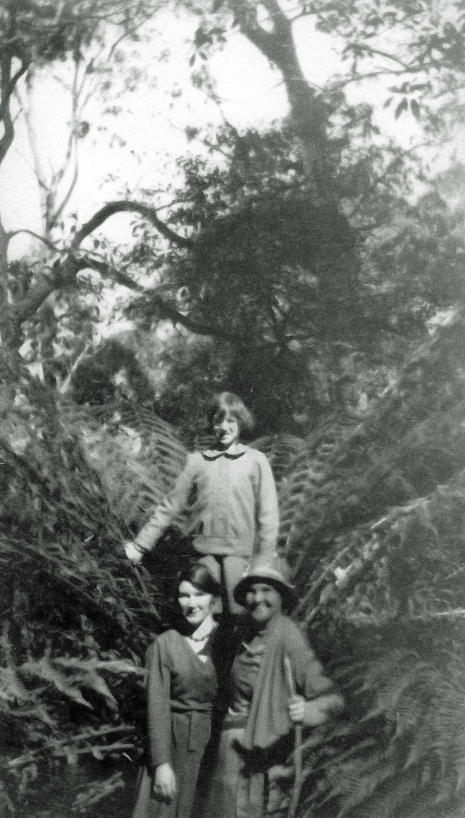 At Mount Cole 26 March 1933. Rene Duncan (top), Myrtle Cameron (right) and Jane Duncan