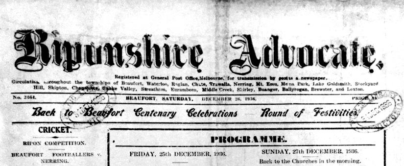 Back to Beaufort 1936:Celebrations