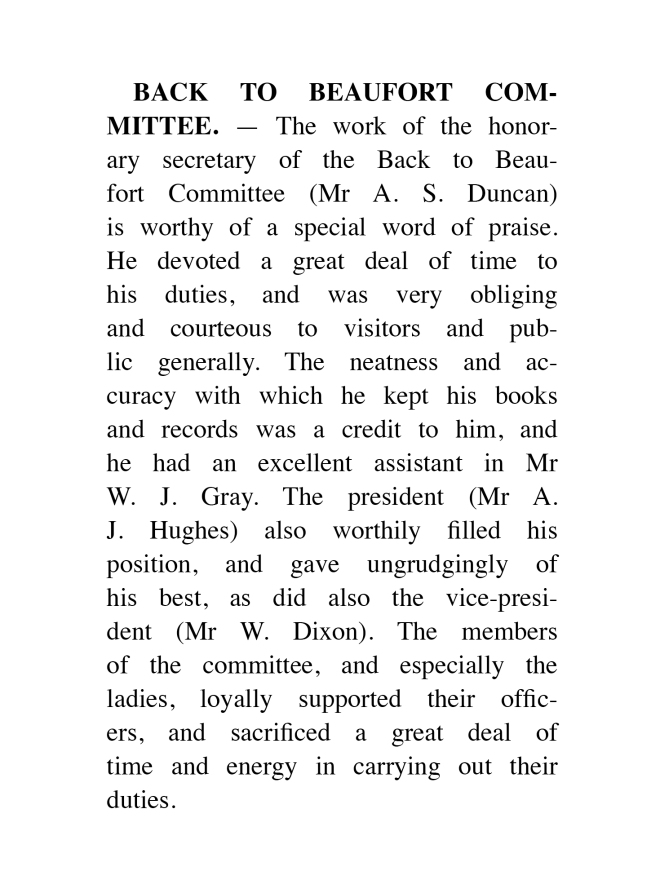 Back to Beaufort Committee. Riponshire Advocate 9 January 1937